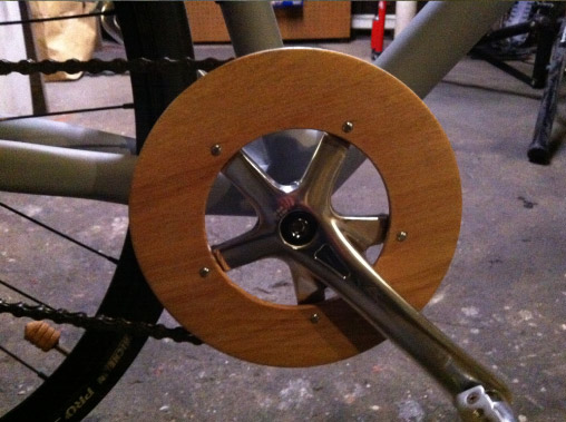 An oak chain ring guard also from the lathe.